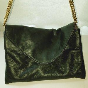 Black J. Crew soft Leather handbag chain strap